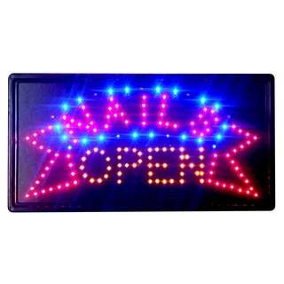 Constructor Nails Open Sign 10-inch x 19-inch Animated LED Neon Light with 2 On/ Off Switchesand Chain