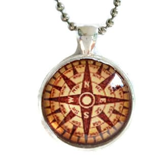 Atkinson Creations Travel Compass Glass Dome Necklace