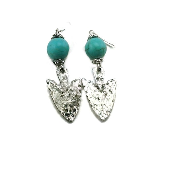 Mama Designs Handmade Sterling Silver Indian Arrowhead Western Style Earrings