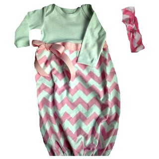 Layette Baby Girl Infant Pink/ White Chevron Gown