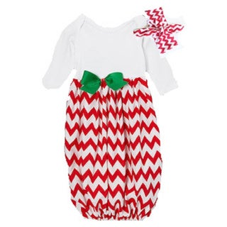 Layette Gown Baby Girl Red Chevron Infant Gown