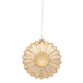 Glass Medallion 4.75-inch Gold Ornament