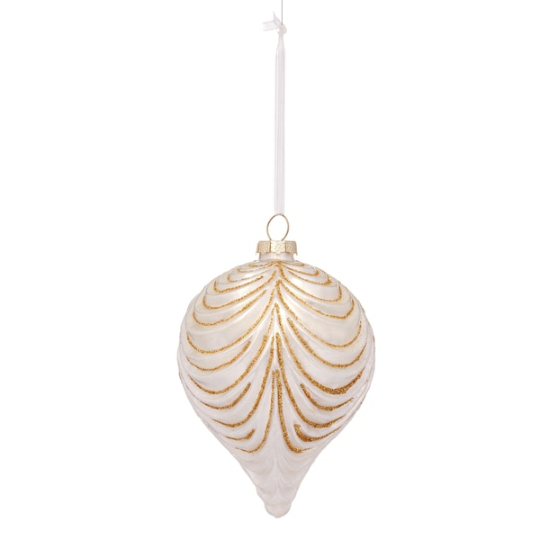 Glass Drape 5-inch White Ornament
