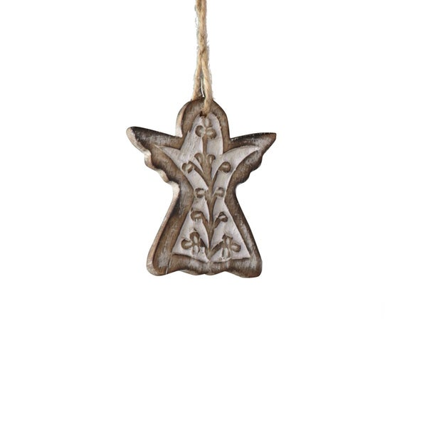Carved Angel Silver Ornament