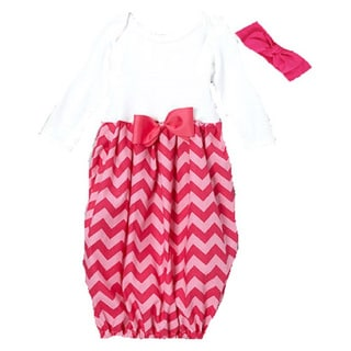 Layette Gown Baby Girl Infant Chevron Hot Pink Gown