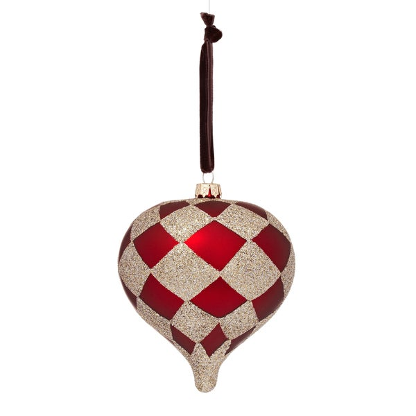 Glass Harlequin Plaid Onion Red Ornament