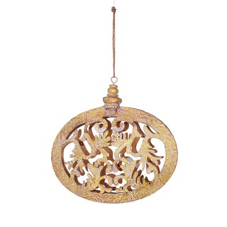 Embossed Faux Leather Tan Scroll 7-inch Ornament