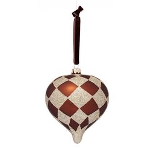 Glass Harlequin Tan/ Brown Plaid Onion 5-inch Ornament
