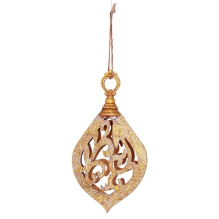 Embossed Faux Leather Gold Scroll 7.5-inch Ornament
