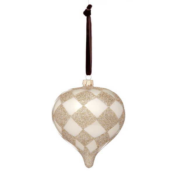 Glass Harlequin Plaid Onion White/ Tan Ornament
