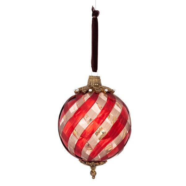 Glass Plaid Pattern Jewels 4-inch White/ Red Ornament