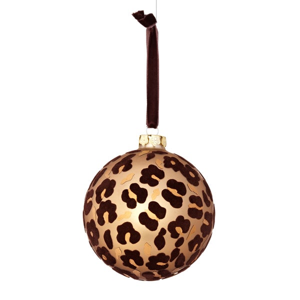 Glass Flock Leopard 4-inch Tan/ Brown Ornament