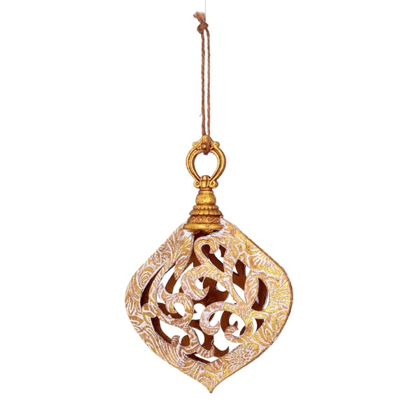Faux Emboss Leather Scroll Gold Ornament