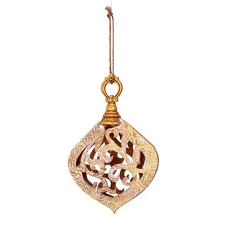 Emboss Faux Leather Gold Scroll 6.5-inch Ornament