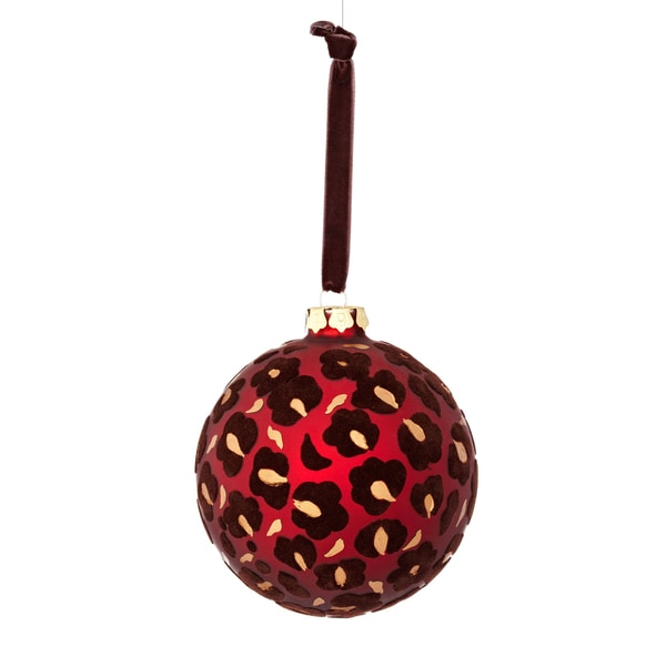 Glass Flock Leopard 4-inch Red/ Brown Ornament