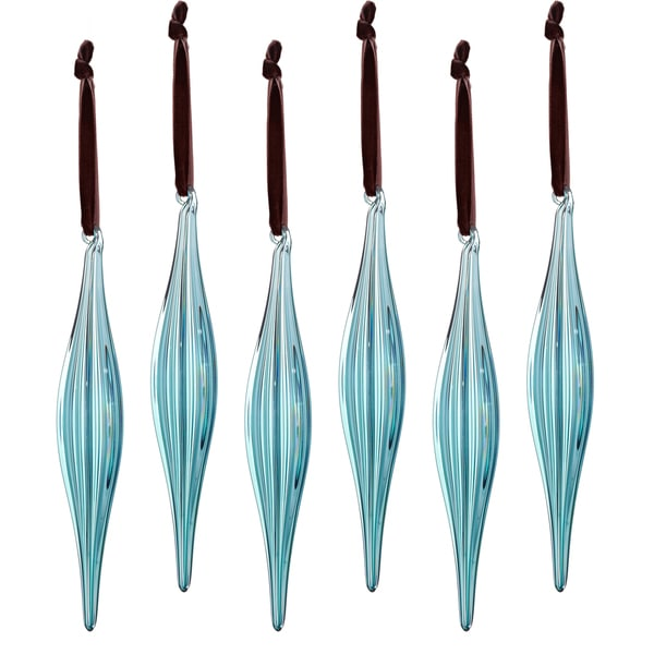 Glass Ribbed Icicle 7-inch Blue Ornament