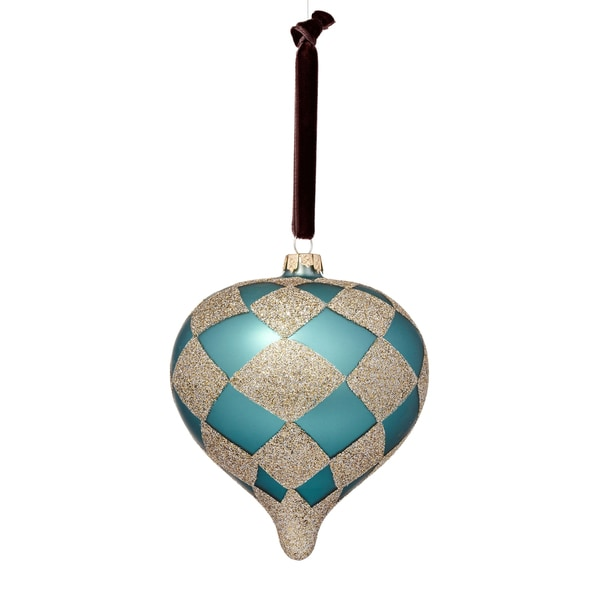 Glass Harlequin Plaid Onion Blue/ Black/ Silver Ornament