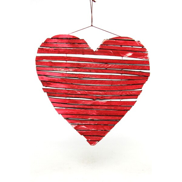 Twig Heart Large 16-inch Red Ornament