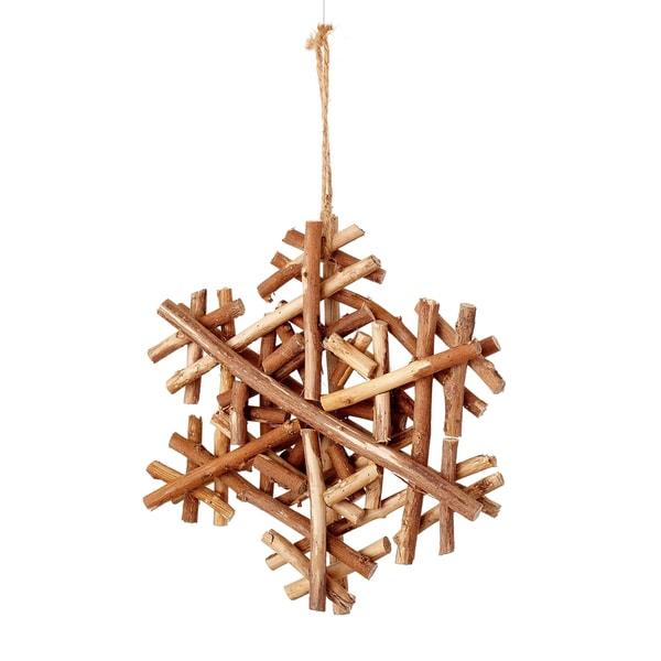 Trig Snowflake 8-inch Brown Ornament