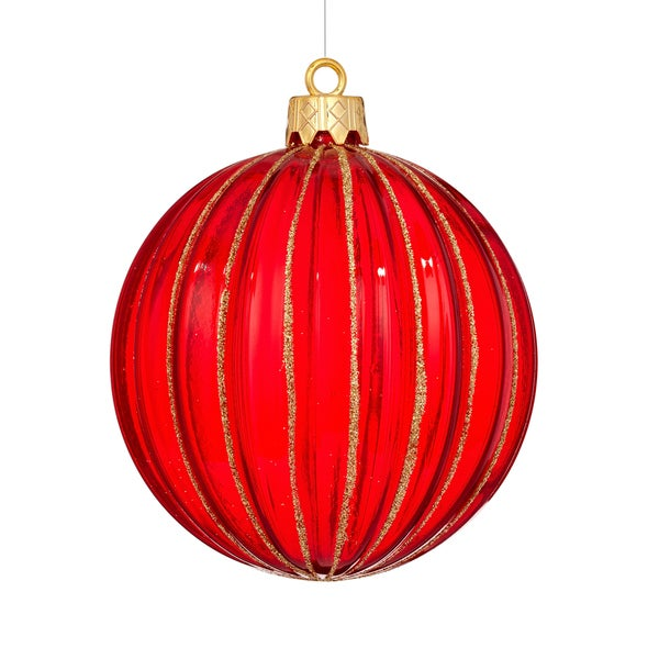 Shatterproof Rib Ball 4.75-inch Red Ornament