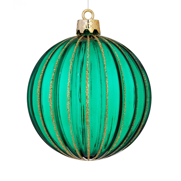 Shatterproof Rib Ball 4.75-inch Green Ornament