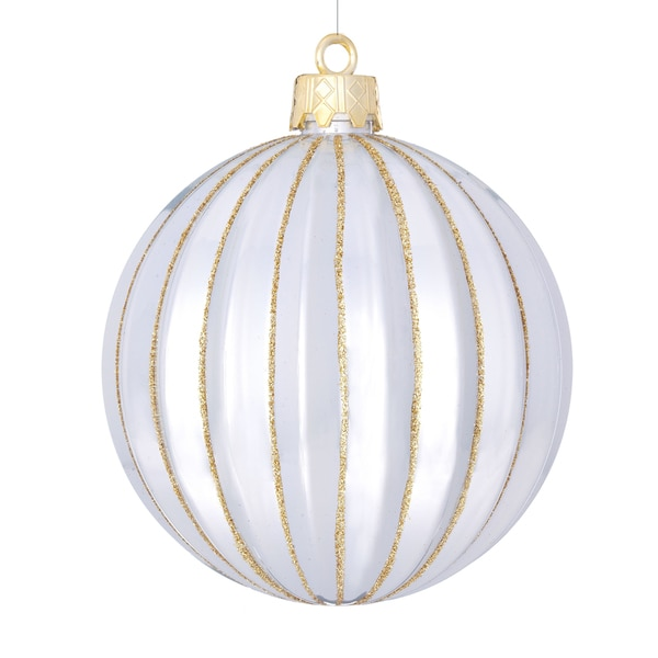 Shatterproof Rib Ball 5-inch White Ornament