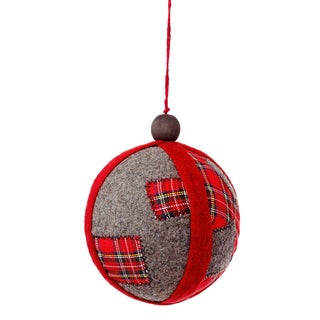 Patchwork Ball 6-inch Red Ornament