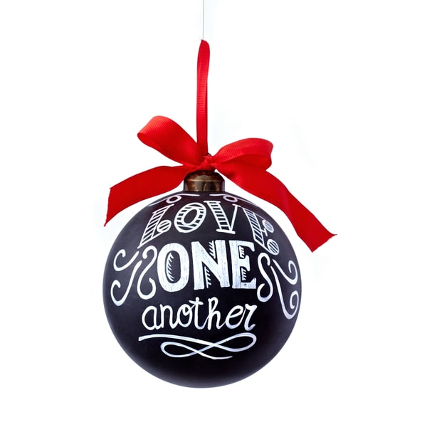 Chalkboard LOVE ONE ANOTHER 4.75-inch White/ Red/ Black Ornament