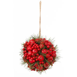 Berry Cluster & Pine Orb 6-inch Red Ornament