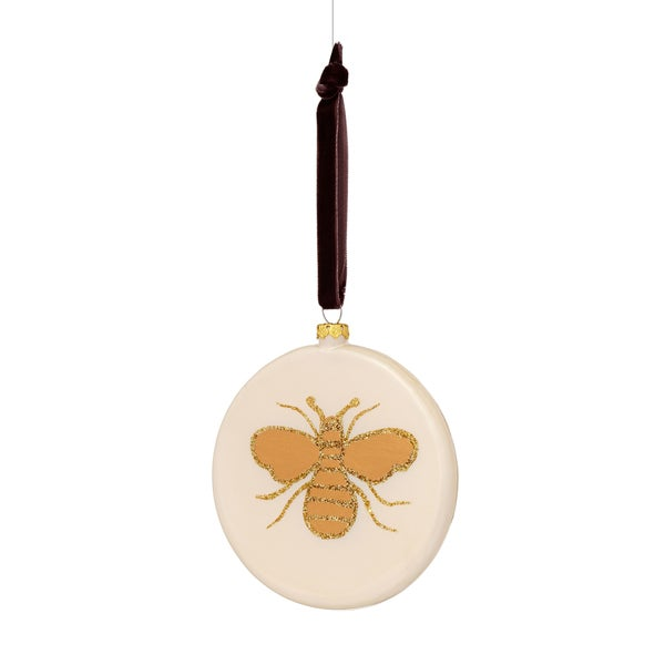 Glass Disc with Glitter Bee Gold/ Off-White/ Brown Ornament