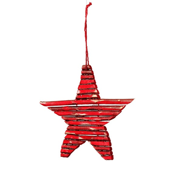 Twig Star 7-inch Red Ornament