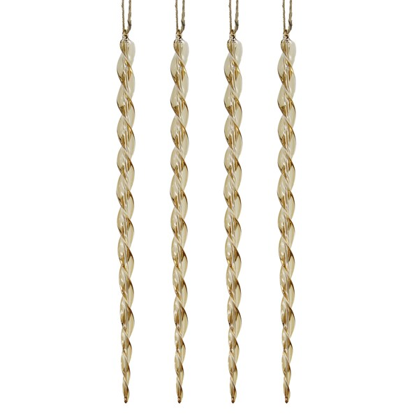 Glass Hollow Swirl Icicle Small Gold Ornament