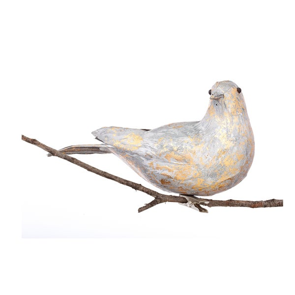Feather Bird 7.5-inch White Ornament