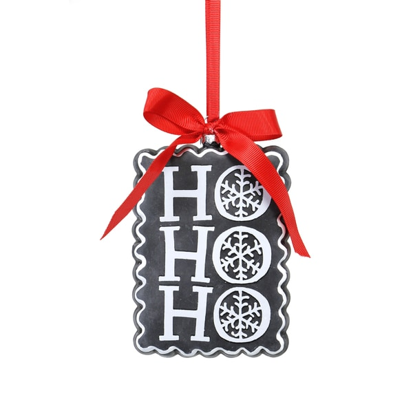 Chalkboard HOHOHO White/ Red/ Black Ornament
