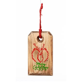 Wood Deer head Tag 6-inch Red/ Tan Ornament