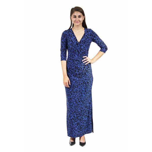 24/7 Comfort Apparel Women's Blue Polka Dot Printed Wrap Dress