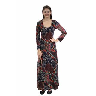 24/7 Comfort Apparel Women's Quilt Floral Printed Maxi