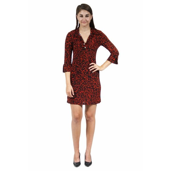24/7 Comfort Apparel Women's Abstract Black and Red Printed Collared Henley Dress