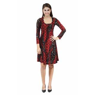 24/7 Comfort Apparel Women's Fall Leaves Printed Dress