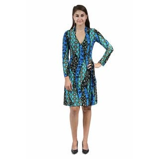 24/7 Comfort Apparel Women's Abstract Teal Deep V-neck Dress