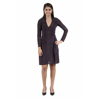 24/7 Comfort Apparel Women's Chocolate and Navy V-neck Wrap Dress