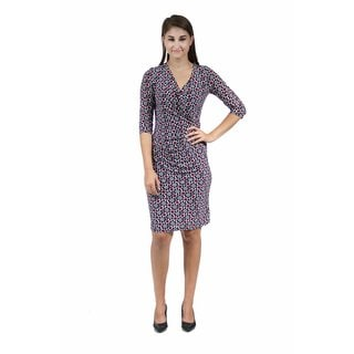 24/7 Comfort Apparel Women's Abstract Printed Faux-Wrapped Dress