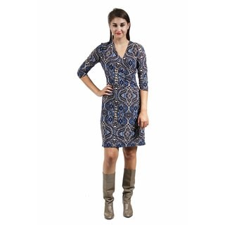 24/7 Comfort Apparel Women's Blue and Cream Abstract Print Faux Wrap Dress