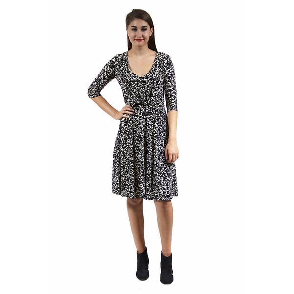 24/7 Comfort Apparel Women's Cream and Black Spot Print Dress