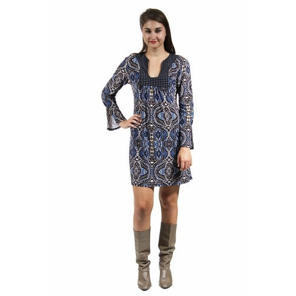24/7 Comfort Apparel Women's Abstract Blue and Cream Printed Shift Dress