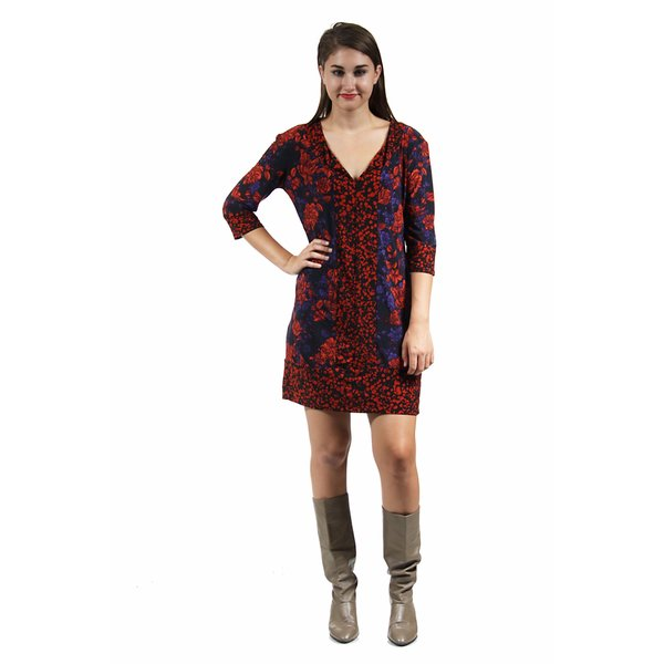 24/7 Comfort Apparel Women's Fall Red Floral Polka Dot Shift Dress