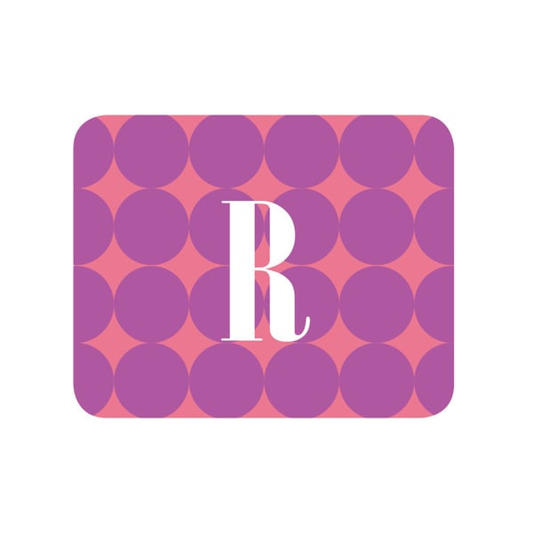 Purple Polka Dots Personalized Mouse Pad