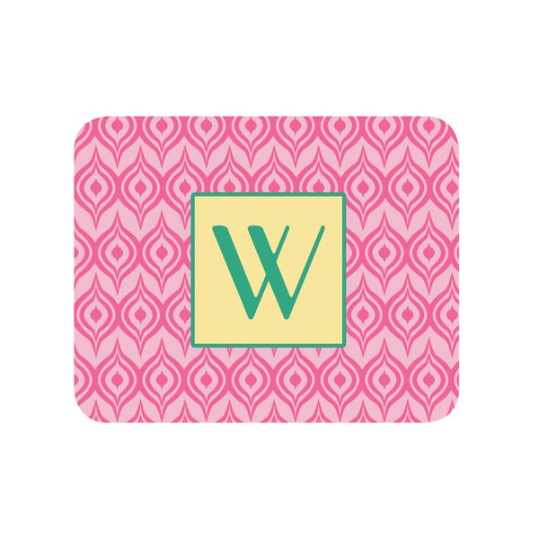 Pink Ikat Personalized Mouse Pad