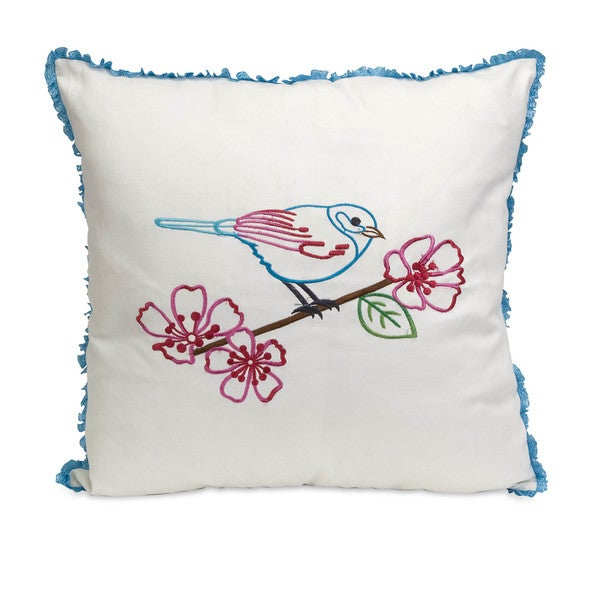 Clora Embroidered Bird Pillow 8-inch
