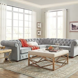 SIGNAL HILLS Knightsbridge Tufted Scroll Arm Chesterfield 6-Seat L-Shaped Sectional